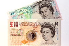Queen elizabeth on the pound banknotes Stock Photo