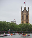 Queen Elizabeth River Pageant. A flotilla of boats sail past Houses of Parliament in London on June 3rd during the Royal Pageant, part of the Diamond Jubilee Stock Images