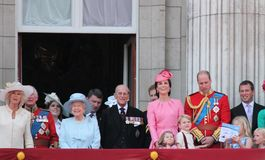 Queen Elizabeth & Royal Family, Buckingham Palace, London June 2017- Trooping the Colour Prince George William, harry, Kate & Char royalty free stock photo