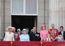 Queen Elizabeth & Royal Family, Buckingham Palace, London June 2017- Trooping the Colour Prince George William, harry, Kate & Char Royalty Free Stock Images