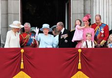 Queen Elizabeth & Royal Family, Buckingham Palace, London June 2017- Trooping the Colour Prince George William, harry, Kate & Char Royalty Free Stock Photos
