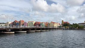 Queen Emma Bridge, Curacao, floating bridge stock video