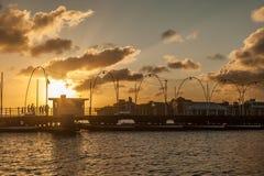 Queen Emma Pontoon Bridge sunset Royalty Free Stock Photo
