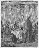 Queen Esther in the Kings Court. Defending her people - Picture from The Holy Scriptures, Old and New Testaments books collection published in 1885, Stuttgart vector illustration