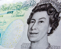 Queen on a fiver Stock Image