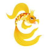 Queen Gold fish from a fairy tale. Vector illustration Stock Photos