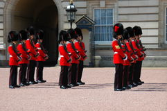Queen Guard. Daily Change of the Guard in front of Buckingham Palace, in London royalty free stock photo