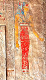 Queen Hatshepsut. Painted bas-relief of Queen Hatshepsut at Thebes in Egypt Royalty Free Stock Photography