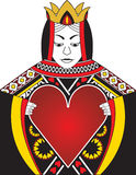 Queen of Hearts. Original illustration depicting the queen of hearts holding a giant heart. The giant heart makes a perfect frame for text or a logo Stock Photos