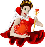 Queen of hearts. Vector illustration of beautiful woman with sceptre and crow: she is queen of hearts Royalty Free Stock Image