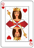 Queen of hearts. Playing card of queen of hearts with attractive woman´s face Stock Photo