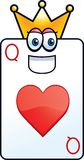 Queen of Hearts. A playing card with a crown on Stock Image