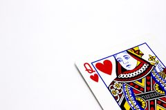 Queen of Hearts. Card on white background Royalty Free Stock Images