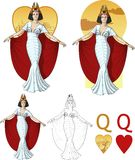 Queen of hearts actress Mafia card set. Retro character attractive caucasian actress drawing with bacgrounds, isolated and line-art vector illustration
