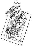 Queen of hearts. Alive playing card of the queen of hearts -  hand drawing illustration Royalty Free Stock Photos