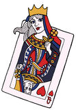 Queen of hearts. Alive playing card of the queen of hearts - vector hand drawing illustration Royalty Free Stock Photo
