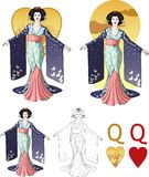 Queen of hearts asian actress Mafia card set. Retro character attractive japanese actress geisha drawing with bacgrounds, isolated and line-art Royalty Free Stock Photos