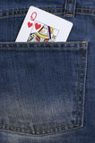 Queen of Hearts card. Jeans Stock Images