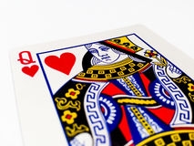 Queen Hearts Card with White Background. A playing card is a piece of specially prepared heavy paper, thin cardboard, plastic-coated paper, cotton-paper blend Stock Photography