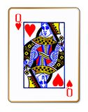 Queen Hearts Isolated Playing Card. The playing card the Queen of hearts over a white background Stock Image