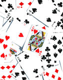 Queen of Hearts - Playing Cards background. Pile of playing cards with the centre one being the queen of hearts royalty free stock photography