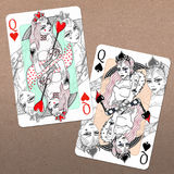 Queen of Hearts and Queen of Spades Royalty Free Stock Photography
