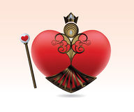 Queen of Hearts. A red heart wearing jewel-encrusted armor, a gold crown, and a heart-shaped staff Royalty Free Stock Photos