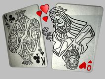 Queen of Hearts seduces. 3D illustration of the Queen of Hearts seducing the King of Clubs Stock Photography