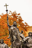 Queen Isabella Statue Marching into Granada 1492 Madrid Spain Stock Image