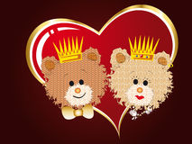 Queen and king bears. With a big heart Royalty Free Stock Photo