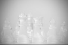 Queen and king on chessboard Royalty Free Stock Images