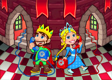 Queen and King at the phone. Cartoon and vector illustration Stock Photos