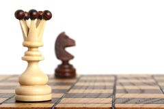 Queen and knight on chessboard. Queen opposite the knight on a chess board Stock Images