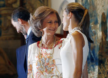Queen Letizia and Mother queen Sofia Stock Image