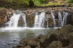 Queen Lili'uokalani Waterfalls. Landscape of Queen Lili'uokalani Botanical Garden and Waterfalls in Honolulu, Hawaii Stock Photography