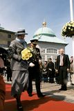 QUEEN MARGRETHE II AND PRINCE HENRIK OF DENMARK. Copenhagen /Denmark - 19. April 2005. H.M.The Queen Margrethe II of Denmark company by here husband Prince royalty free stock photo