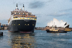 Queen Mary 2 που αποχωρεί από το Σίδνεϊ στις 25 Μαρτίου 2015 Στοκ φωτογραφία με δικαίωμα ελεύθερης χρήσης
