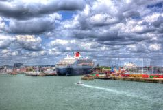 Queen Mary 2 Ocean Going Transatlantic Liner And Cruise Ship At Southampton Docks England UK Royalty Free Stock Images