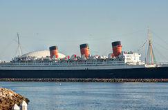 Queen Mary. Historic Queen Mary Ship at Long Beach Harbor Stock Photo