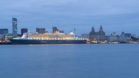 Queen Mary 2 celebra l'anniversario 175 di Cunard Immagine Stock Libera da Diritti