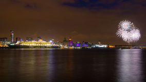 Queen Mary 2 Celebrates 175 Anniversary of Cunard Stock Images