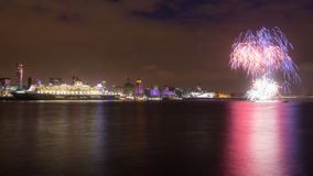 Queen Mary 2 Celebrates 175 Anniversary of Cunard. Liverpool, United Kingdom - May 24, 2015: Queen Mary 2, Cunards flagship ocean liner, celebrates the companys Stock Photos