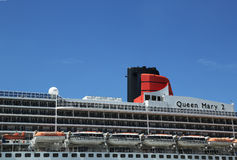 Queen Mary 2 cruise ship detail at Brooklyn Cruise Terminal. NEW YORK - AUGUST 15: Queen Mary 2 cruise ship detail at Brooklyn Cruise Terminal on August 15, 2013 Royalty Free Stock Photography
