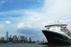 Queen Mary 2 cruise ship docked at Brooklyn Cruise Terminal. NEW YORK CITY - JULY 27: Queen Mary 2 cruise ship docked at Brooklyn Cruise Terminal on July 27 Royalty Free Stock Photo
