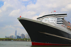 Queen Mary 2 cruise ship docked at Brooklyn Cruise Terminal. NEW YORK - JULY 1: Queen Mary 2 cruise ship docked at Brooklyn Cruise Terminal on July 1, 2014 Royalty Free Stock Photography
