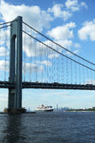 Queen Mary 2 cruise ship in New York Harbor under Verrazano Bridge Stock Photos