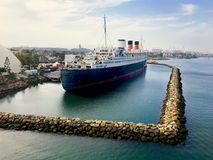 Queen Mary-cruiseschip in de V.S. stock foto
