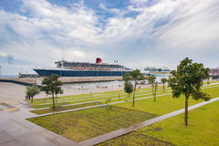 The Queen Mary 2 docked in harbour stock photos