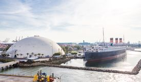 Queen Mary docked in The Port of Long Beach California USA royalty free stock image
