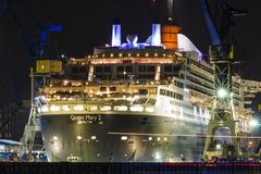 Hamburg, Germany July 26, 2016: Queen Mary 2 in Hamburg harbor royalty free stock photography
